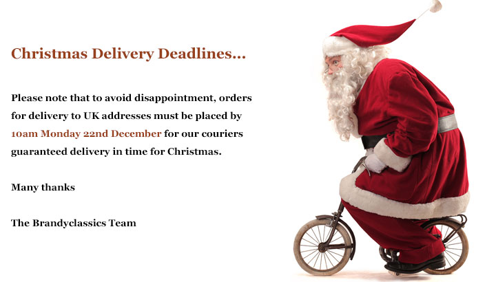 Christmas Delivery Deadlines... Please note that to avoid disappointment, orders for delivery to UK addresses must be placed by 10am Monday 22nd December for our couriers guaranteed delivery in time for Christmas. Many thanks, The Brandyclassics Team