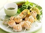 Scallops on skewers with Blanche Armagnac and Passion Fruit Vinaigrette