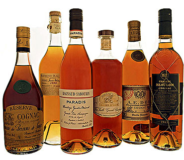 Some of the many fine single estate cognacs for sale online at BrandyClassics